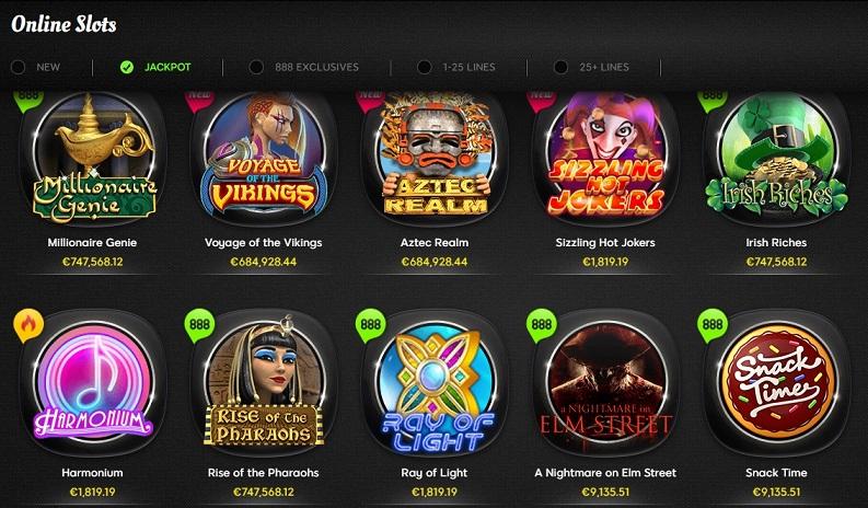 Slot Spiele Angebot @ 888 Casino